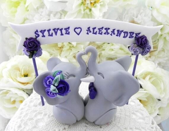 Elephant Wedding Cake Topper, Grey and Shades of Purple, Custom Phrase Banner, Bride and Groom Keepsake, Fully Custom