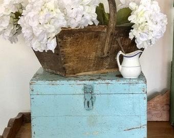 RESERVED for Libbi Vintage Turquoise Wooden Travelers Printer Trunk
