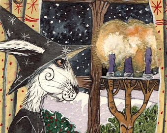 Majickal Evening - Matlock the Hare - Whimsical witch magical signed archival art print.