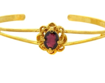 Birdhouse Jewelry- Garnet and Gold Cuff Bracelet