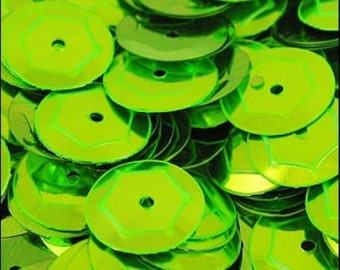 Metallic Lime Green Cupped Sequins 8mm - JR02716
