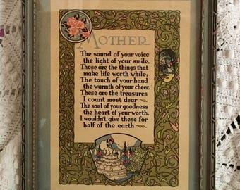 Art Nouveau Blue Green Framed MOTHER Poem