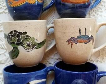 Large colorful coffee mugs, ocean sea life animals marine biology vibrant happy colors rich color ocean mugs tropical fish mug sea otter mug