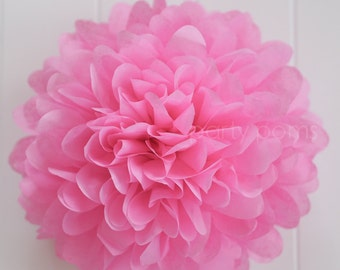 Raspberry tissue paper pom .. wedding and party decoration
