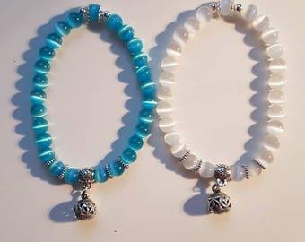 White or blue cat's eye bracelet