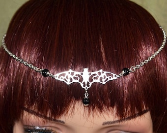 Gothic Bat Headdress with Onyx - Handmade Head Chain, Circlet, Head Jewellery.  Darkly delicous Goth wear.