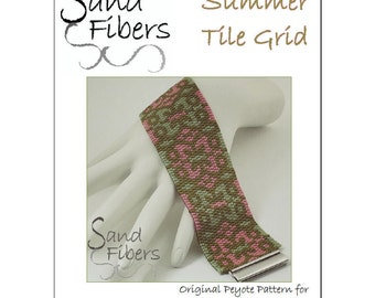 Peyote Pattern - Summer Tile Grid Peyote Cuff / Bracelet  - A Sand Fibers For Personal and Commercial Use PDF Pattern
