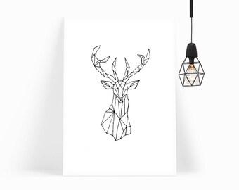 Wall Art, Poster, Home Decor, Print, Abstract Art,Decor,Geometric,Gift For Her,Gift,Gift for Dad,Handmade,Modern Art,Framed Art,Deer,Stag