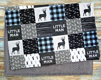 Minky Blanket - Lumberjack Baby Boy Blanket - Blue Baby Boy Bedding - Little Man Blanket - Woodland Nursery - Rustic Nursery - Baby Blanket