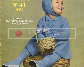 Baby Pram Set 12-18 months 4ply Sirdar 41 Vintage Knitting Pattern PDF instant download