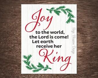 Joy to the world, Christmas printable, Holiday printable art, Joy, Instant Download, Digital print, Seasonal decor, Christmas carol,