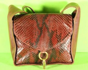 Women's Python leather shoulder bag