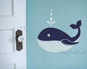 Whale Decal Ocean Fish Vinyl Wall Decal Nautical Whale Nursery Beach Decor Boy Bedroom Whale Wall Art Oracal Vinyl Graphics Computer Cut