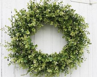 Boxwood Wreath, Green Wreath, Farmhouse Decor, Everyday Wreath, Year Round Wreath, Door Wreath, Front Door Wreath, Greenery Wreath, Wreath
