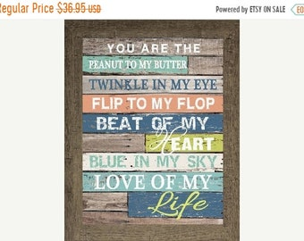 Sale Peanut to my Butter Flip To My Flop, Love of my Life  Blocking Decor Framed Picture 13x16""