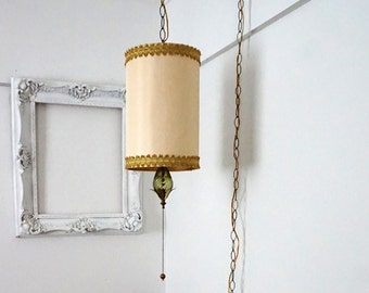 Vintage Pendant Swag Lamp with Drum Shade and Green Glass