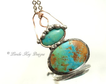 Turquoise & Copper Necklace Organic Design Soldered One-of-a-kind Metalwork Lorelie Kay Designs
