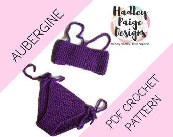 AUBERGINE Bikini - crochet pattern instant download - top & bottom.  One size (children's 6-8yrs) Boho kids.  Swimwear. Summer wear. Beach