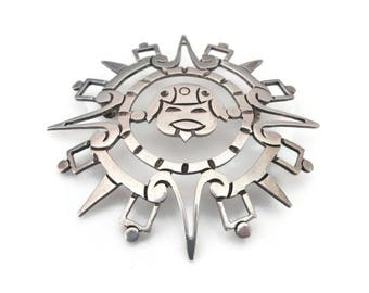 Taxco Sterling Aztec Brooch - Mexican Sterling, Sterling Brooch, Aztec Brooch, Sun Face, Southwestern, Ethnic Jewelry, Vintage Silver Brooch