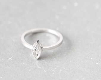 Marquis Stone Ring 925 Sterling Silver Dainty Jewelry