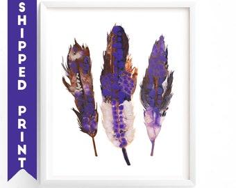 PRINT Feathers print, Feather Wall Art, Purple Feathers, Painting of Feathers, Boho Decor, Dorm Room, Nursery Art