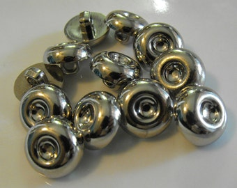 """12 Silver Hallow Center Small Round Shank Buttons Size 9/16"""""""