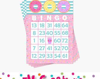 Donut Bingo Card - Doughnut Printable Bingo Card - Donut Printable Party Game -Donut Birthday Party Baby Shower Game- Instant Download - PDF