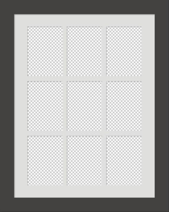 Digital 9up Gallery Series on a 24x30 Frame & Mat PSD CS4