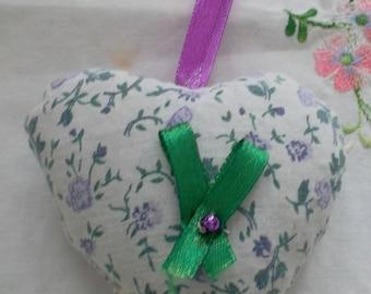 Lavender Purple floral fabric heart