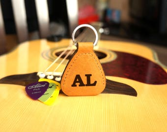 Leather Guitar Pick Holder Custom Engraved Wooden Personalized Plectrum Personalized Fathers Day Gift for Musician for Him for Husband