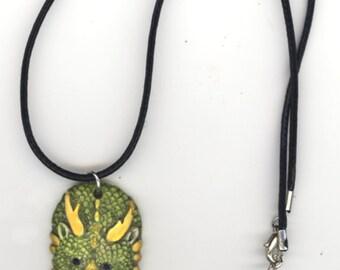 Dragonlady Porcelain Pendant on Black Leather Cord