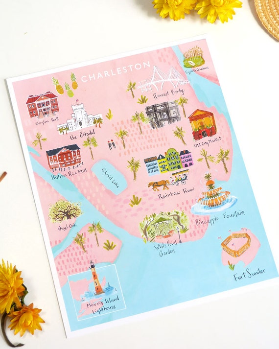 Charleston Map print featuring Rainbow Row Old City Market