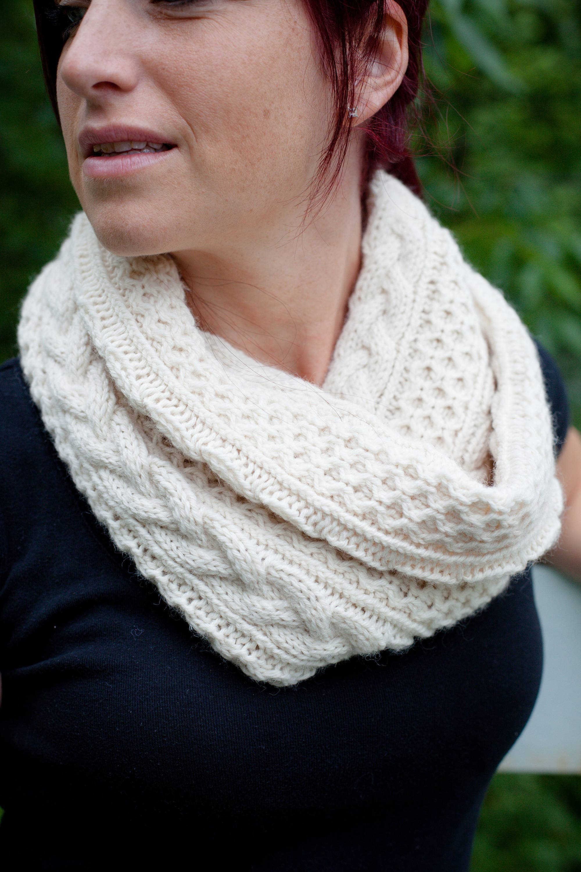 Almost Aran Infinity Scarf Knitting PATTERN // cable knit infinity ...