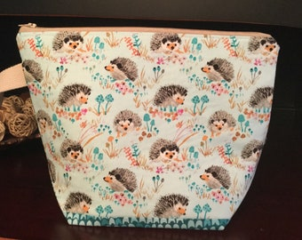 Happy Hedgehogs Enchanted Forest  Zippered project bag