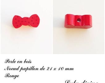 Wood 21 x 10 mm bead, Pearl flat bow tie: Red
