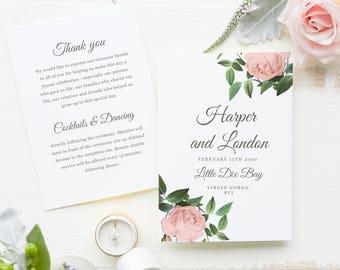 Wedding Programs Template, Printable Wedding Programs, Folded Programs, Vintage Wedding Program, Vintage Botanical | SUITE028