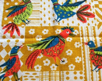 Vintage Tea Towel with Colorful Birds, Parisian Prints, Songbirds, linen tea towel