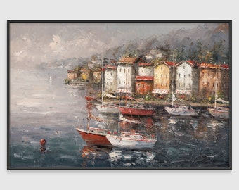 Seaside town. Oil painting. 600*900 mm. Free delivery to all countries!