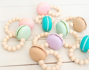 Macaroon Teething Ring - Rattle - Macaron - Cookie Teether - French Baby - Pregnancy Announcement - Teething Toy