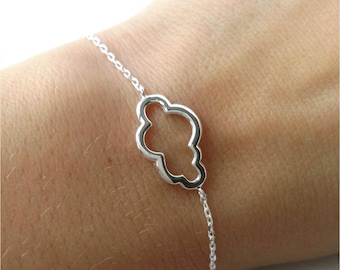 Bangle massive 925/000 Silver cloud, silver small cloud chiseled adjustable size - cloud bracelet sterling silver 925