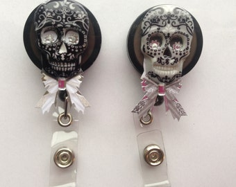 Sugar Skull with Bow Retractable ID Badge Holder