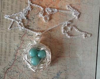 Robin's Bird Eggs Nest Necklace Amazonite Silver