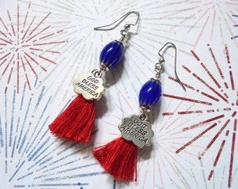 Red, Blue and Silver Patriotic Boho Tassel Earrings (3651