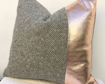 Gray modern style pillow Cover with Rose Gold Leather, Specially Priced 20 inch x 20 inch