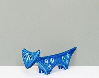 Vintage Bitossi Rimini Blu Blue Cat Figurine mid century Aldo Londi Italian Pottery Animal