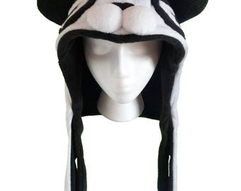 Magnetic Panda Chomp Hood, Soft Animal Hat with Magnetic Clasps, Panda Ears