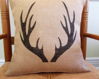 Antler pillow, Gift for Dad, Stenciled pillow, Cabin decor, Man cave pillow, Burlap Pillow, Deer antlers, Cabin pillow, FREE SHIPPING!