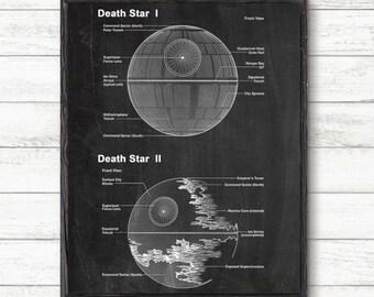 Star Wars death star art print,Death Star Art, Death Star Blueprint, Death Star wall poster, Star Wars wall poster, Death Star print #P287