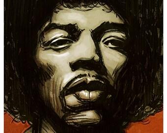 Jimi Hendrix portrait - A4 colour art print