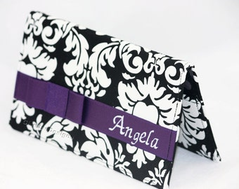 Custom made fabric checkbook cover with pen holder, Personalized Checkbook case with bow, Custom checkbook wallet, checkbook pocket book.